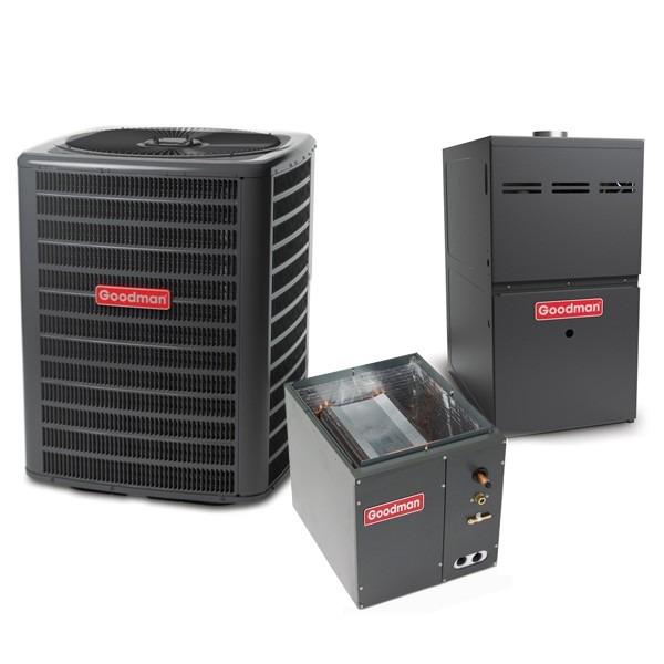 2.5 Ton 13.5 SEER 60k BTU 80% AFUE 2 Stage Variable Speed Goodman Central Air Conditioner & Gas Split System - Upflow