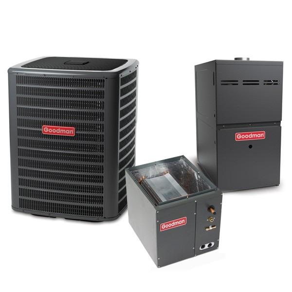 3.5 Ton 14 SEER 80k BTU 80% AFUE 2 Stage Variable Speed Goodman Central Air Conditioner & Gas Split System - Upflow
