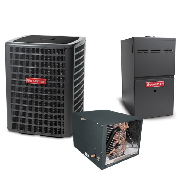 3.5 Ton 14.5 SEER 80k BTU 80% AFUE 2 Stage Variable Speed Goodman Central Air Conditioner & Gas Split System - Horizontal