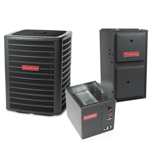 4 Ton 14 SEER 100k BTU 96% AFUE Multi Speed Goodman Central Air Conditioner & Gas Split System - Upflow