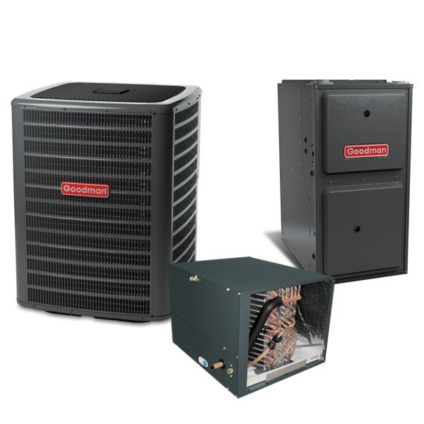 4 Ton 14 SEER 120k BTU 96% AFUE Multi Speed Goodman Central Air Conditioner & Gas Split System - Horizontal