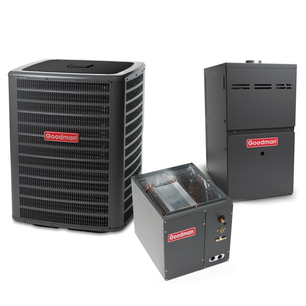 4 Ton 14.5 SEER 100k BTU 80% AFUE 2 Stage Variable Speed Goodman Central Air Conditioner & Gas Split System - Upflow