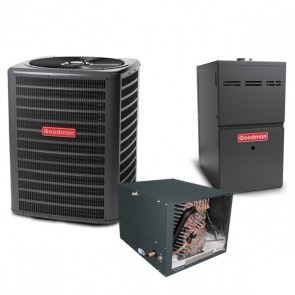 1.5 Ton 14 SEER 60k BTU 80% AFUE 2 Stage Variable Speed Goodman Central Air Conditioner & Gas Split System - Horizontal