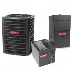 1.5 Ton 14 SEER 60k BTU 80% AFUE 2 Stage Variable Speed Goodman Central Air Conditioner & Gas Split System - Upflow
