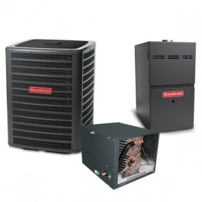 5 Ton 14.5 SEER 100k BTU 80% AFUE 2 Stage Variable Speed Goodman Central Air Conditioner & Gas Split System - Horizontal